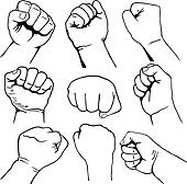 Set of fists vector