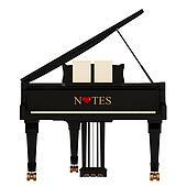 Grand piano on white