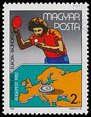 Stamp printed HUNGARY shows Table Tennis European Championships
