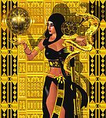 Magic woman with gold snake