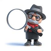 3d Old man looks through a magnifying glass