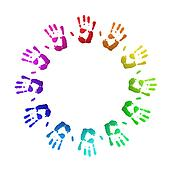Colored handprints