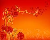 red flower pateern