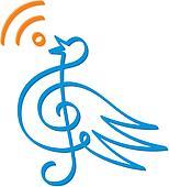 Treble clef bird vector