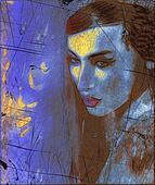 Brunette woman, abstract art