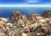 3d rocky shoreline