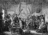 Funeral feast in Chile, vintage engraving.