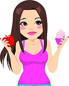 Woman Eating Apple Or Cupcake