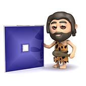 3d Caveman invents a square dvd