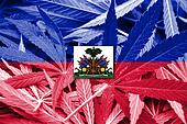 Haiti Flag on cannabis background. Drug policy. Legalization of marijuana