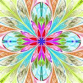 Multicolored symmetrical fractal flower in stained-glass window
