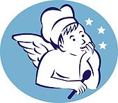 cook,baker or chef child angel holding a spoon and thinking of food
