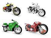 Collection of bikes isolated views