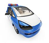 Future concept of police car isolated view