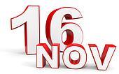 November 16. 3d text on white background.