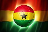 Soccer football ball with Ghana flag