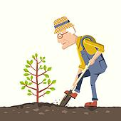 Old man gardener plant a tree