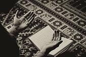 Arabic Muslim Man Reading Holy Islamic Book Koran