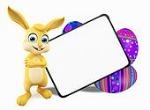 Easter Bunny with eggs and signboard