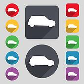 Jeep icon sign. A set of 12 colored buttons and a long shadow. Flat design.