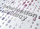 Privacy concept: Golden Information Privacy on Binary Code background