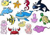 Cartoon sea animals with happy emotions