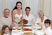 Family eating turkey in a dinner