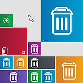 the trash icon sign. buttons. Modern interface website buttons with cursor pointer.