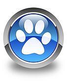 Animal footprint icon glossy blue round button