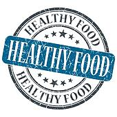 Healthy food blue grunge textured vintage isolated stamp