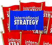International Strategy Words Flags Global Policy Diplomacy