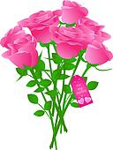 Vector bouquet of roses with gift tag