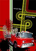 Cover for brochure with grunge urban images and fire engine. Vector