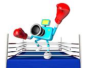 A big punch in the ring blowing 3d cyan camera Character. Create 3D Camera Robot Series.