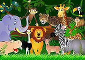 Cute animal cartoon in the jungle