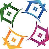 Real estate 4 houses logo
