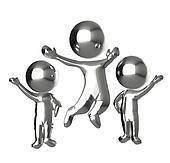 Happy people metallic logo 3 D