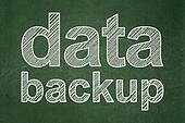 Data concept: Data Backup on chalkboard background