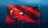 Turkey Under Water Sea Flag National Torn Bubble 3D