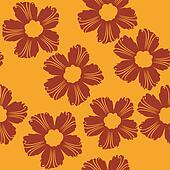 red flowers pattern on orange background