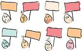 8 Doodle Faces with Signs