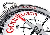good habits red message on conceptual compass