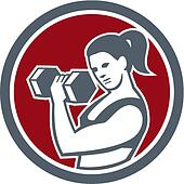 Female Lifting Dumbell Fitness Circle