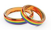 Gay Marriage Concept with Rainbow Rings.