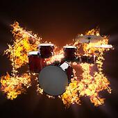 drum set in fire