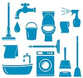 objects for home work cleaning