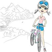 Vector  hipster girl tourist with bicycle