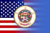 USA and Minnesota State Flag