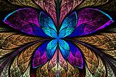 Multicolored symmetrical fractal pattern as flower or butterfly
