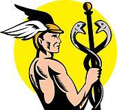 Roman Greek God Hermes or mercury holding a caduceus